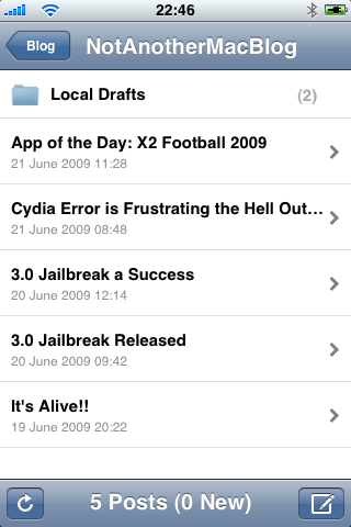 "WordPress app shows ""(2)"" posts in ""Local Drafts"" folder."