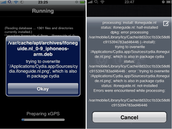 Error in Cydia (right) and error in Icy (left).